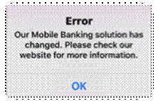 Mobile Banking App error message example